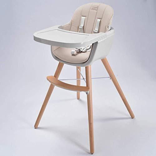 SOAR Hochstuhl Baby Holz-Hochstuhl Cabrio Moderne Hochstuhl mit Kissen, Einstellbare Feeding Hochstuhl Baby/Kind/Kleinkind, Hochstühle mit abnehmbaren Tablett (Color : Gray)
