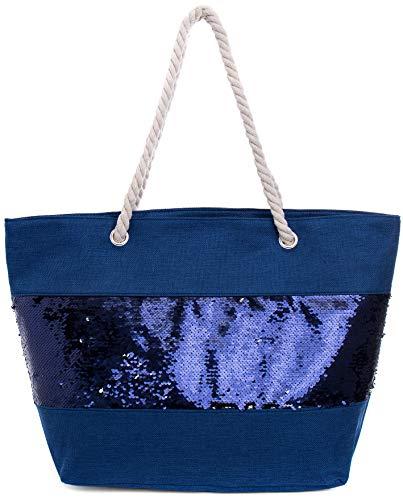 Faera Pailletten Strandtasche in sommerlichen Farben XXL Shopper Beach Bag mit breiter Kordel Schultertasche, Taschen Farbe:Blau