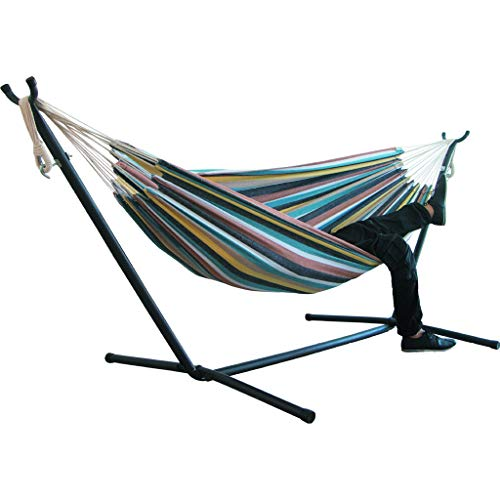 Double Hammock Indoor Comfort Durability Yard Striped Hanging Chair Large Chair Hammocks Perfect for Patio, Camping Indoor Outdoor (C, 78.7 x 59.1 inch)