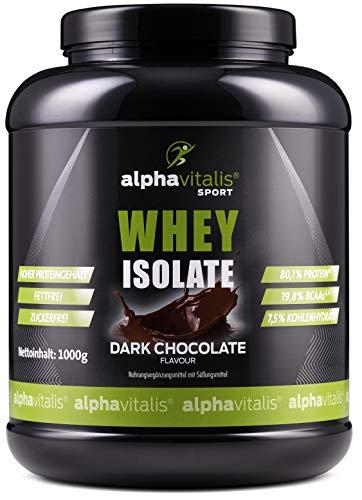 WPI Whey Protein Pulver Isolat Dark Chocolate - H²O-optimiert - 80,1% Protein! - Zuckerfrei - Fettfrei - 1000g WPI ohne Aspartam oder Cyclamat