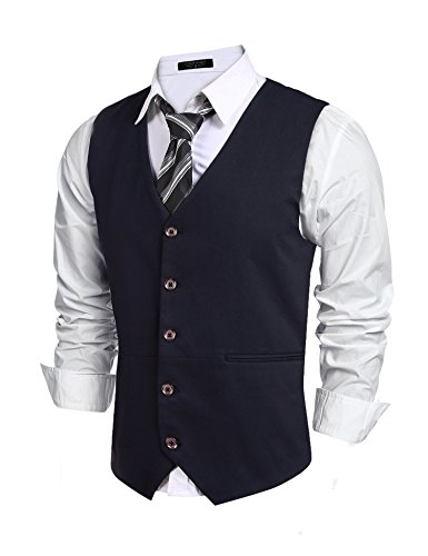 COOFANDY Mens Fashion V-Neck Suit Vest Slim Fit Button Down Waistcoat, Navy Blue, Medium
