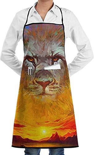 Asa Dutt528251 Delantal con Pechera del león de Judá Delantal de Chef con Bolsillos para Hombre y Mujer, Impermeable, Lavable a máquina, cómodo, de fácil Cuidado, Delantal para Camarero