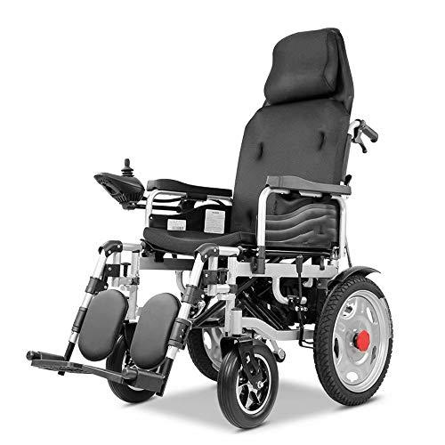 electric wheelchair elektrische rolstoel met hoofdsteun, opvouwbare en lichte elektrische rolstoel, zitbreedte 43 cm, verstelbare rugleuning en pedaalhoek, draagkracht 100 kg