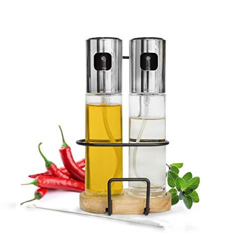 Sendez Öl und Essig Sprühflaschen mit Halterung aus Akazienholz Zerstäuber Ölsprüher Essigsprüher Ölspender Sprühflasche