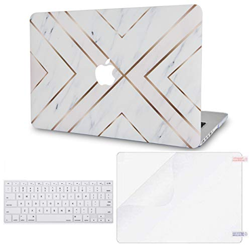 LuvCase 3 in 1 LaptopCase for MacBook Air 13 Inch(Touch ID)(2020) A2179 Retina Display HardShellCover, Keyboard Cover & Screen Protector (White Marble Gold Stripes)