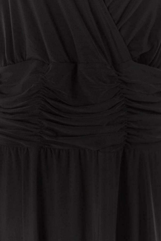 NY Collection Women's Plus Size Solid Ity V-nk 3/4 Sleev Bslim Dress with Ruching at Waist