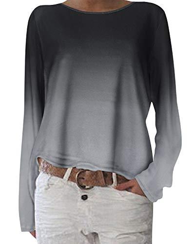 ZANZEA Damen Langarmshirts Lose Blumen Bluse U-Ausschnitt Oversize Sweatshirt Oberteil 01-blumen10 EU 44/Etikettgröße L