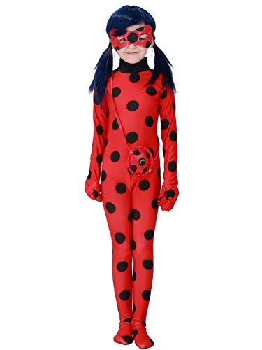 FStory&Winyee Mädchen Ladybug Marienkäfer Kostüm Jumpsuit Kinder Karneval Fasching Cosplay Kostüm Cartoon Miraculous, Rot, M