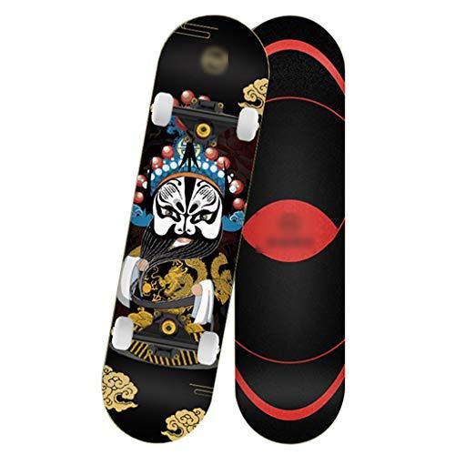 Skateboarden Professioneller Rucksack Ahorn Allrad-Straßenbürsten-Straßen Doppelt Gedrehtes Shortboard Nur Für Anfänger (Color : B, Size : 80 * 20.5cm)