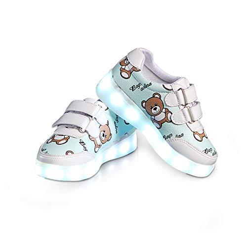 big horse Baby Kinderschuhe LED Mädchen Jungen,LED Schuhe Leuchtschuhe Sportschuhe USB Aufladen 7 Farbe Blinkende Light Up Turnschuhe Geringe Hilfe Sneakers für Kinder Mädchen Größe 22-35