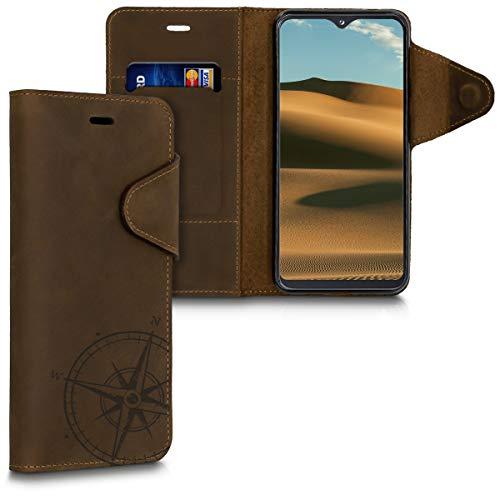 kalibri Hülle kompatibel mit Samsung Galaxy A20e - Leder Handyhülle - Handy Wallet Case Cover Kompass Vintage Braun