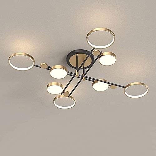 FURNITURE 8 Lights Sputnik Chandelier 96W High Brightness Led Ceiling Lamp, Nordic Postmodern Ceiling Lighting Fixture, Mid Century Semi Flush Mounta Lamp, Dining Room Living Room Lamp,/Gold