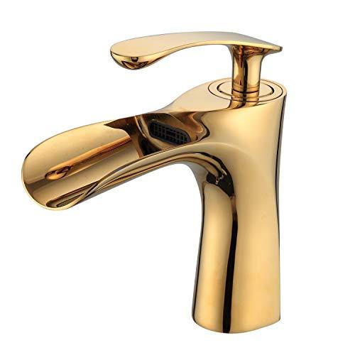 Leekayer Luxus Waschbecken Wasserhahn Gold Verchromt Einhand Wasserfall Wasserhähne für Bad 1 Loch Montieren Toilette Neuheit Stil, LK75249G