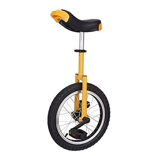 YVX Monociclo Ajustable 16 Pulgadas Equilibrio Amarillo Ejercicio Divertido Bicicleta Fitness, Fuerte Marco de Acero, sillín ergonómico Contorneado, Soporte de Carga 150 Libras