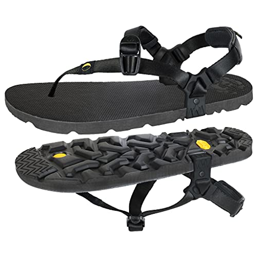 LUNA Sandals MONO Winged Edition | Minimalist Running and Hiking Sandals - Lightweight 5.9 oz Comfortable Sandals for Men and Women | Adjustable Fit (Black, numeric_11)