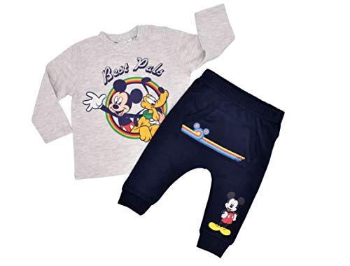 Babybogi Micky Mouse Baby Trainingsanzug   Größe 67 74 80 86   2 TLG Sportanzug   Disney Jogginganzug für Jungen Langarm Shirt und Langarm flauschig warm Jogginghose (Grau Tshirt, 80)