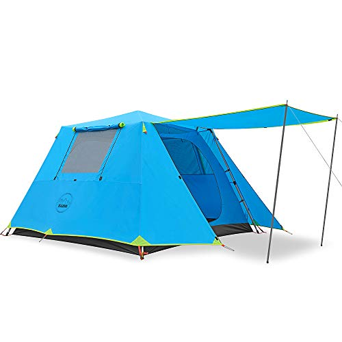 KAZOO Family Camping Tent 4 Person Saturn with awning setup.