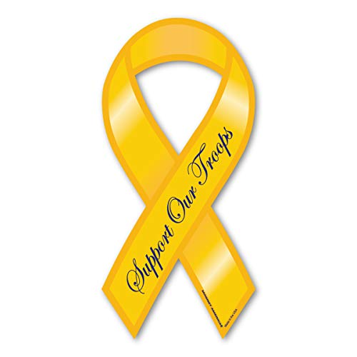 Yellow Support Our Troops Mini Ribbon Magnet [Kitchen]