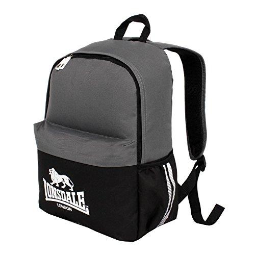 Lonsdale Pocket Rucksack Schwarz/Anthrazit Rucksack Sporttasche Gymbag Kitbag, Schwarz/Charcoal