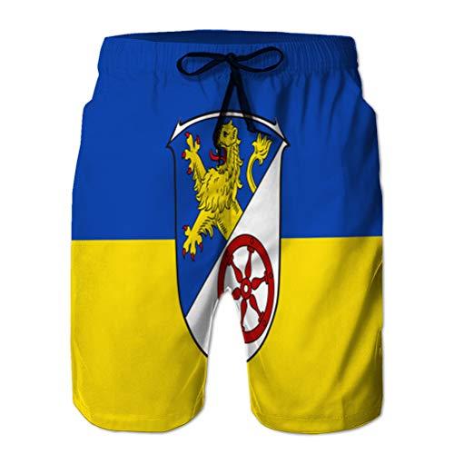 jiilwkie 166 Herren Quick Dry Beach Board Shorts Sommer Badehose Flagge von Rheingau Taunus in M