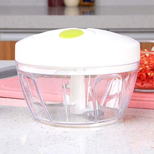 YUYAXAF Mini groentesnijder uiensnijder, 3 messen 400 ml groente en uien versnipperaar handmatig/mengen, keuken multi hakmolen anti-slip bodem eenvoudig, wit