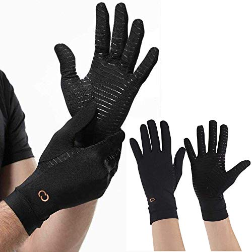 Copper Compression Full Finger Arthritis Gloves for Carpal Tunnel, Typing & More (Medium)