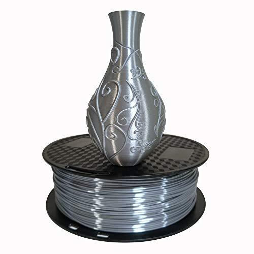 Imprimante 3D Soie Argent Filament PLA 1,75 mm 1KG 2.2LBS Bobine Impression 3D Brillant Métallique Brillant Matériaux Soyeux HZST3D
