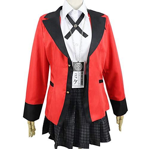 Hot Cool Cosplay Disfraces Anime Kakegurui Yumeko Jabami Japanese School Girls Uniforme Conjunto completo Chaqueta + Camisa + Falda + Medias + Corbata