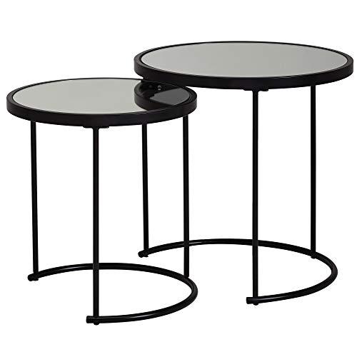 Wohnling Design Beistelltisch Rund Ø 50/42 cm - 2 teilig Schwarz mit Spiegel Glas | Wohnzimmertisch 2er Set | Satztisch verspiegelt | Couchtisch