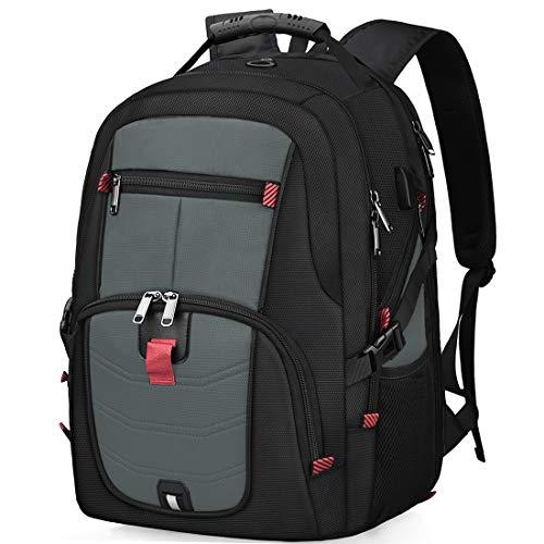 Laptop Notebook Rucksack Herren 17 Zoll Schulrucksack mit USB Ladeanschluss Grosser Wasserdicht Arbeit Rucksack Taschen 17,3 Zoll Business Backpack Daypack für Männer Schüler Jungen Teenager (Grau)