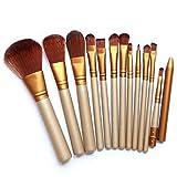 Emorias 12 Pcs Juego de Brochas de Maquillaje Base Oro Pincel de Maquillaje Set Herramienta de Cosmetica Makeup Brushes