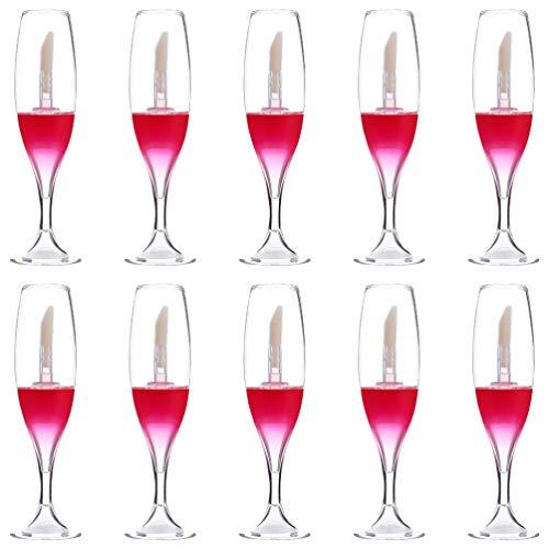 FRCOLOR - Lote de 10 botellas de labios transparentes, vacías, para labios, tubo recargable con consejo de labios y muestras de aceite, botellas de vino de cristal, rojo (Rojo) - E16Q59147XTJE9U