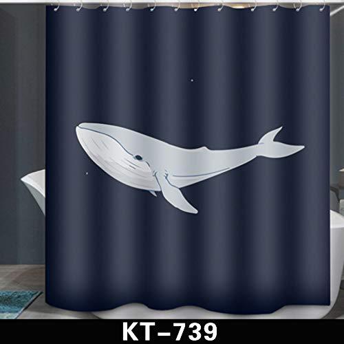 Hacoly Polyester Duschvorhang Wal Duschvorhänge Schimmelresistenter Wasserabweisend Shower Curtain maschinenwaschbar Duschvorhäng 180 * 180cm