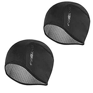 ROCKBROS Skull Cap for Men & Women Thermal Cycling Helmet Liner Moisture Wicking Motorcycle Running Hat,Fits Under Helmets 2 Pack