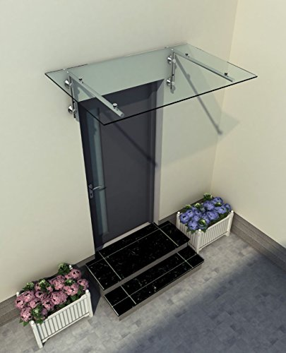 150 x 90 cm Glasvordach Vordach Türvordach Türdach Haustür Klarglas Glas Edelstahl VSG
