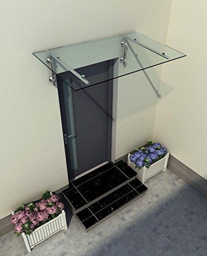 200 x 90 cm Glasvordach Vordach Türvordach Türdach Haustür Klarglas Glas Edelstahl VSG