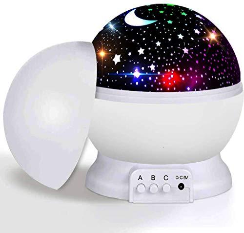 Gerhannery Sternenhimmel Projektor Nachtlicht, Baby Nachttischlampe 360° Rotierend LED Sternenlicht Projektionslampe mit 8 Lichter, Halloween, Weihnachten Geschenk, Kind Schlafzimmer Dekoration (Weiß)
