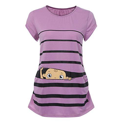 T-Shirt De Maternité,Innerternet Femme T-Shirt Chic Tops à Manche Courte VêTement De Maternité Mignon Imprimé BéBé Allaitant Enceinte Grossesse Tops Hauts Pullover De Allaitement (B Violet,M)