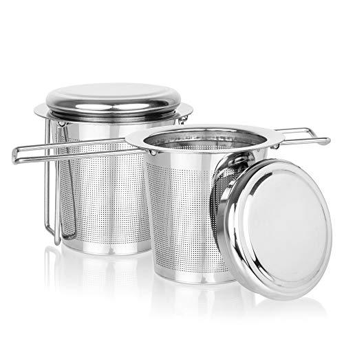 Vitalfuel Teesieb | Teefilter für losen Tee | Teesieb mit Deckel - Abtropfschale | Faltbarer Griff für Tassen und Kannen | Edelstahl