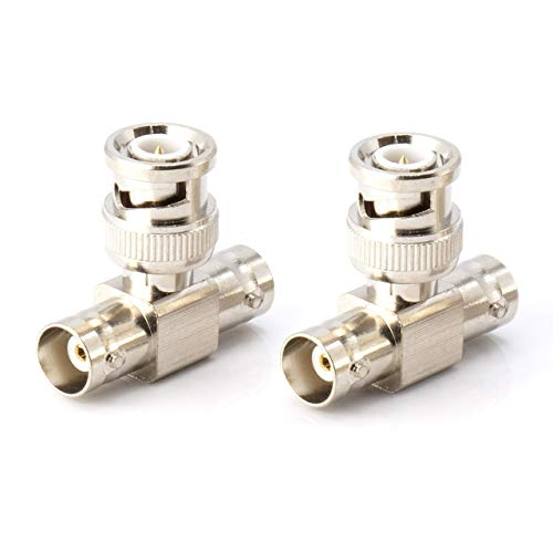 BNC T Adapter - T-Shaped Coax Splitter - 1 Male Port to 2 Female Ports, Coaxial Cable Extension - 4 Pack