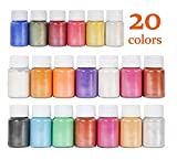 DEWEL 20er Epoxidharz Farbe, 10ml Seifenfarbe Set Pigment Mica Pulver Glitter für Kunstharz...