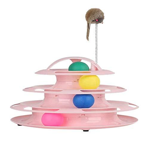 ZHOUHON Interaktives Katzenspielzeug,Katzen Spielturm Spielzeug,Katze Bälle Trackball mit 4 Bällen Katzenspielzeug/vierschichtiges Trackturm Katzenspielzeug (Pink)