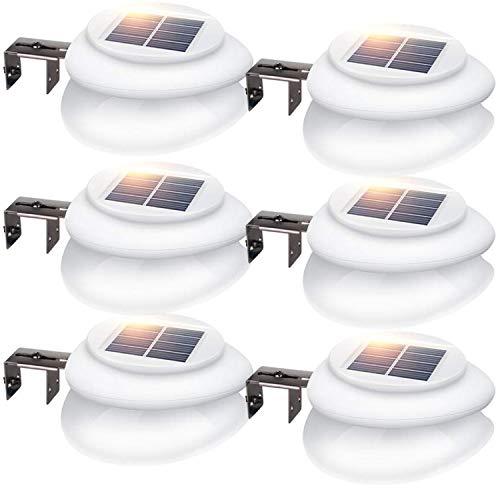 LED Solar Dachrinnenleuchte, KEENZO Solarlampen für Außen, 9LEDs Solarlicht, Auto ON/OFF, Weiß,Kalt Weiß Licht (6er set)