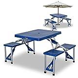 ADGO Mesa Plegable Muebles turísticos con 4 taburetes, Maleta de Picnic Ligera Impermeable, Acampada, Aluminio, PVC