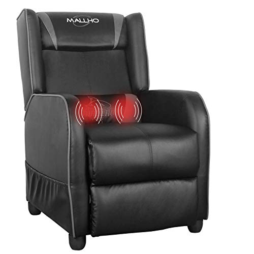 Polar Aurora Gaming Recliner Chair PU Leather Massage Recliner Vibratory Massage Function Ergonomic Lounge for Living & Gaming Room (Grey)