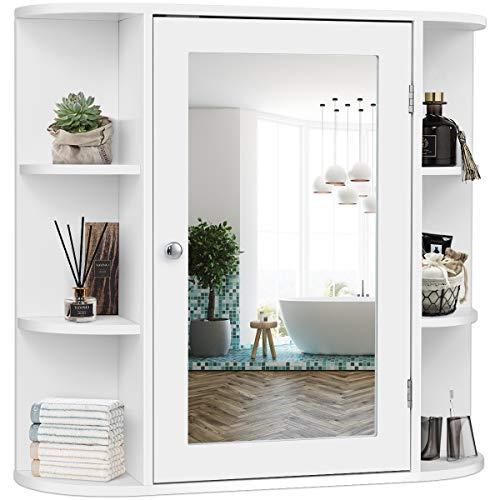 GIANTEX Spiegelschrank Badezimmer, Hängeschrank mit Spiegel, Wandschrank eintürig, Badezimmerspiegel mit Ablagen, Badschrank Badezimmerschrank 65x17x63 cm, weiß