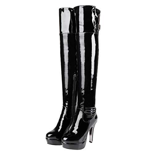 MISSUIT Damen Lack Plateau Overknee Stiefel High Heels Stiefel Stiletto Reißverschluss Schnallen Herbst Winter Boots(Schwarz,39)