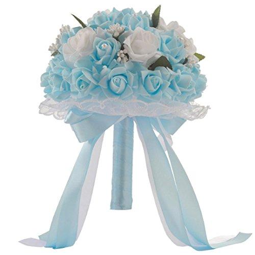 Hunpta Cristal roses Perle Demoiselle d'honneur Bouquet de mariage de mariage Fleurs Artificielles en soie bleu