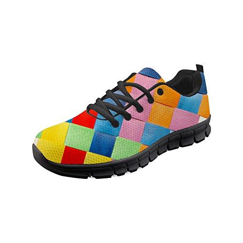 HUGS Idee Color Checked Lace Up Sport Trainer Outdoor Sport Sneakers Air Mesh Atmungsaktive Wanderschuhe für Herren- EU-Größe 40