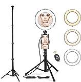 """BenqBot LED Ring licht Stativ mit Spiegel, 8.2"""" Dimmbar 3200K-5500K Ringleuchte mit Handy Halter und Fernauslöser, 3 Lichtmodi 11 Helligkeitsstufen für Youtuber, Make-up, Self-Porträt, live Stream -"""